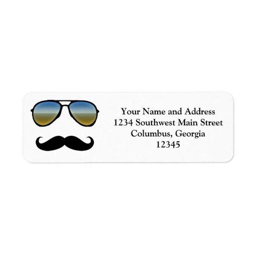 Gafas de sol retras divertidas con el bigote etiqueta de remite