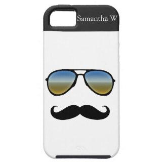 Gafas de sol retras divertidas con el bigote iPhone 5 cobertura