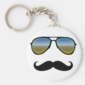 Gafas de sol retras divertidas con el bigote llavero redondo tipo pin
