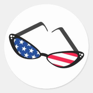 Gafas de sol retras patrióticas del ojo de gato de pegatinas redondas