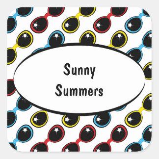 Gafas de sol retras primarias pegatina cuadrada
