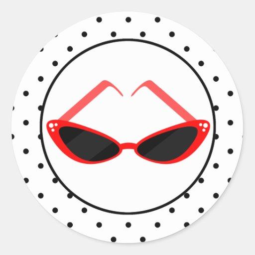 Gafas de sol rojas retras del ojo de gato y lunare pegatinas