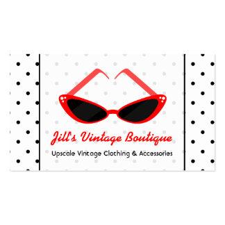 Gafas de sol rojas retras del ojo de gato y tarjetas de visita