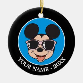Gafas de sol sonrientes de Mickey el | Mickey Adorno Navideño Redondo De Cerámica