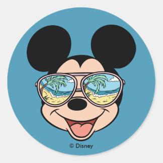 Gafas de sol tropicales de Mickey el | Mickey Pegatina Redonda