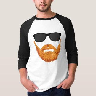 Gafas de sol y barba principal roja playera