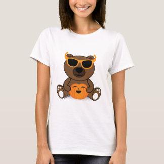 Gafas de sol y calabaza lindas frescas del oso de playera