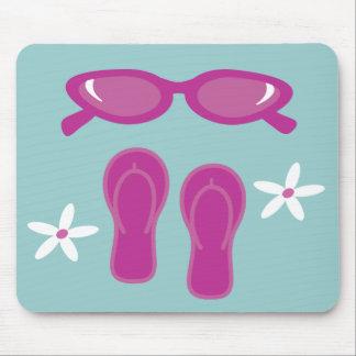 Gafas de sol y flips-flopes adaptables alfombrilla de ratones