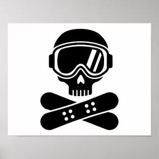 Gafas del cráneo de la snowboard poster