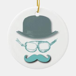 Gafas, gorras y bigotes de Steampunk Adorno Redondo De Cerámica