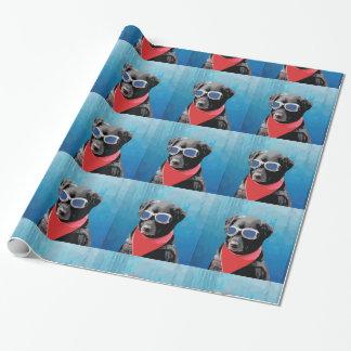 Gafas rojas del azul del pañuelo del perro del papel de regalo