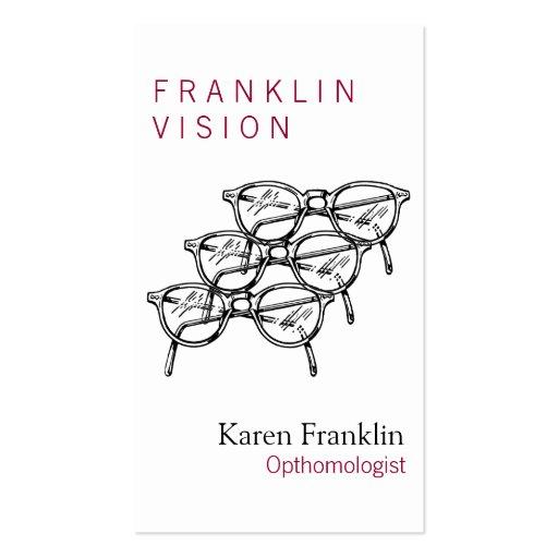 Gafas Vision óptico de tres gafas Tarjetas Personales
