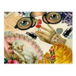 Gafas y flores de la fan del cordón postal