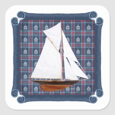 Beach Themed Gaff Rigged Cutter Square Sticker