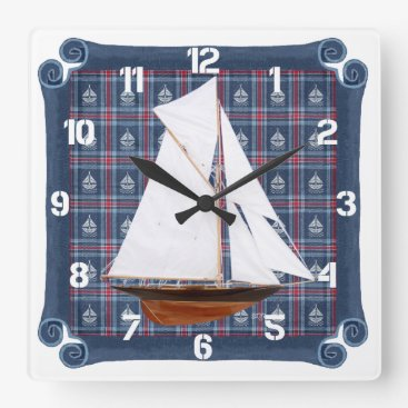Beach Themed Gaff Rigged Cutter Square Wall Clock