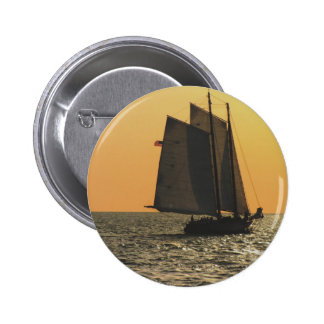 Gaff Rigged Sailboat sunset 2 Inch Round Button