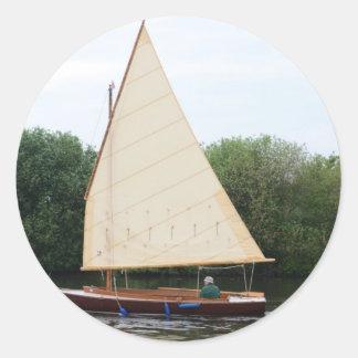 Gaff Rigged Sailing Boat Classic Round Sticker