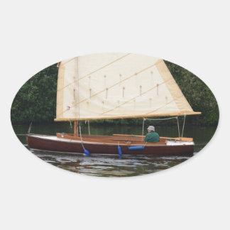 Gaff Rigged Sailing Boat Oval Sticker