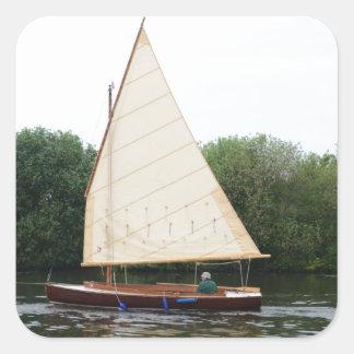 Gaff Rigged Sailing Boat Square Sticker