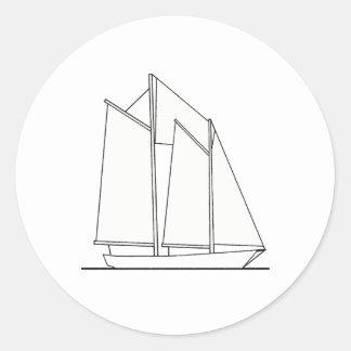 Gaff-Rigged Schooner Sailboat (sail plan) Classic Round Sticker