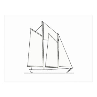 Gaff-Rigged Schooner Sailboat (sail plan) Postcard