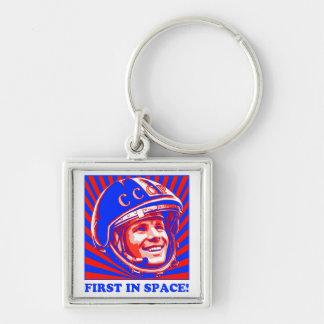 Gagarin ЮрийГагарин Llavero Cuadrado Plateado