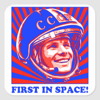 Gagarin ЮрийГагарин Pegatina Cuadrada