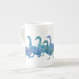 Gaggle of Cool Blue Geese Porcelain Mug
