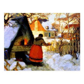 Gagnon - Heating the Oven, Winter Scene Postcard