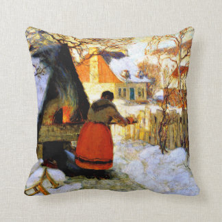 Gagnon - Heating the Oven, Winter Scene Throw Pillow