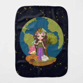 Gaia, Fox, Rabbits & Bird of Paradise Pixel Art Burp Cloth