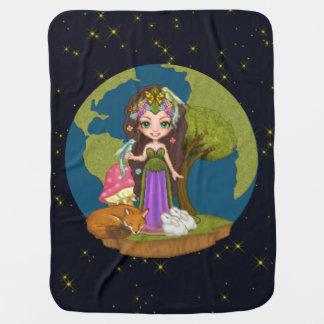 Gaia, Fox, Rabbits & Bird of Paradise Pixel Art Stroller Blanket