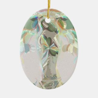Gaia (madre tierra) adorno navideño ovalado de cerámica