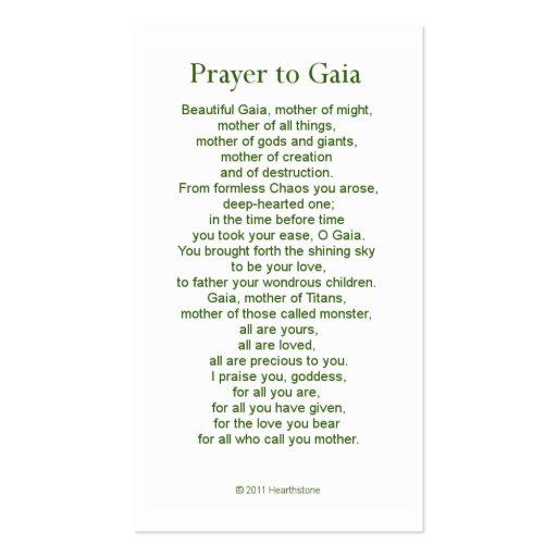 Gaia Prayer Card Business Card Templates