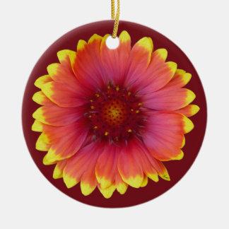 Gaillardia 1 adorno navideño redondo de cerámica