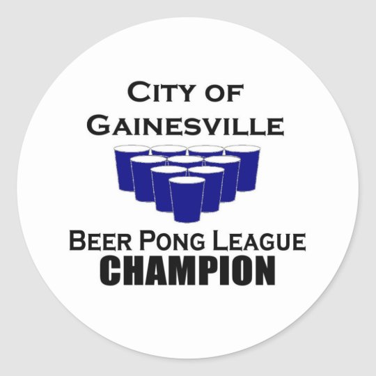 Gainesville Beer Pong Champ Classic Round Sticker