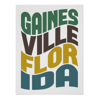 Gainesville Florida Retro Wave Poster