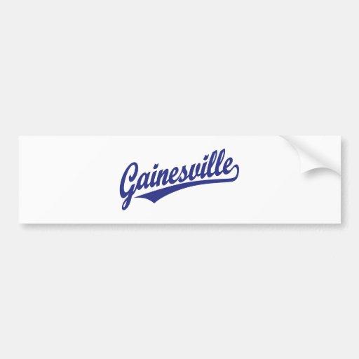 Gainesville script logo in blue bumper sticker
