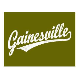 Gainesville script logo in white postcard