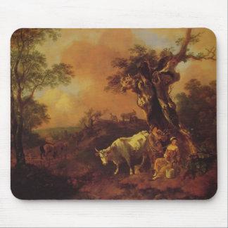Gainsborough-Paisaje de Thomas, leñador, lechera Alfombrillas De Ratón
