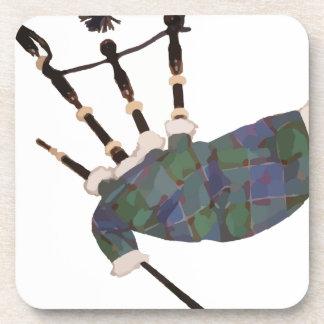 gaitas escocesas de la tela escocesa posavasos de bebida