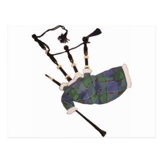 gaitas escocesas de la tela escocesa tarjeta postal