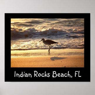 gaitero de la arena en diseño de la playa póster