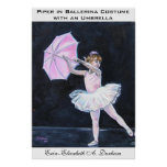 Gaitero en traje de la bailarina con un paraguas poster