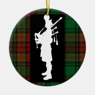 Gaitero escocés adorno navideño redondo de cerámica