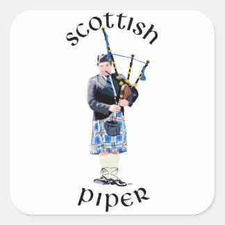 Gaitero escocés - tela escocesa azul pegatina cuadrada