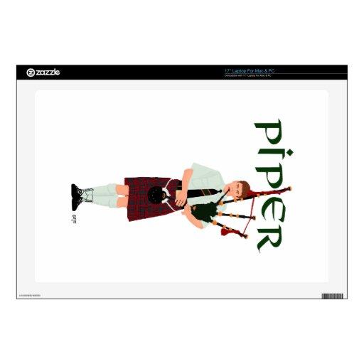 Gaitero - falda escocesa roja calcomanías para portátiles