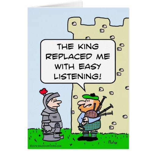 Gaitero substituido rey con escuchar fácil tarjeta de felicitación