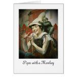 Gaitero y un mono tarjeta de felicitación