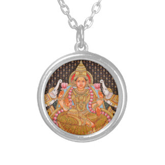 GAJA LAKSHMI INTRICATE TANJORE PAINTING {SOUTH IND SILVER PLATED NECKLACE